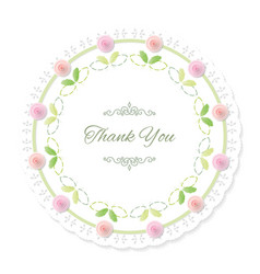 Round doily frame decorated with roses thank you vector