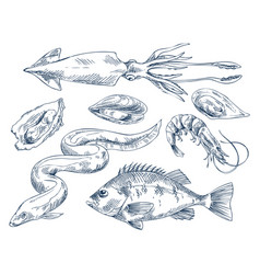 Seafood monochrome for poster vector