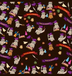 Seamless pattern 4 flat on school theme bird owl vector