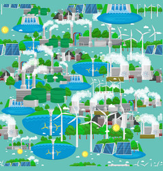 Seamless pattern renewable ecology energy green vector