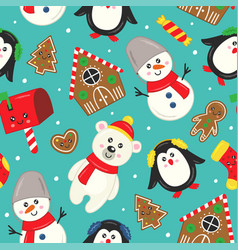 Seamless pattern with cute christmas characters vector