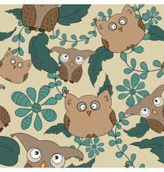 seamless pattern with cute owls leaves vector image