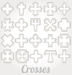 set crosses various religious symbols vector image