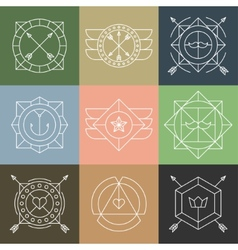 set hipster emblems and badges vector image