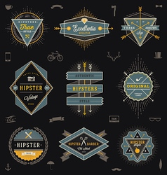 set hipster trendy emblems labels and sign vector image