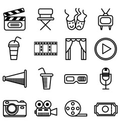 Set of movie cinema and theater icons vector