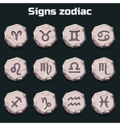 Signs of the zodiac on the old stones vector image