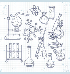 sketch set various devices for chemical vector image