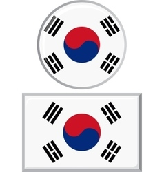 South Korean round and square icon flag vector image