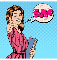 Student woman gesturing great with books vector