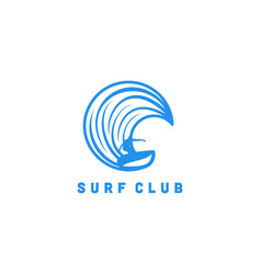 surf player man and wave logo designs inspiration vector image