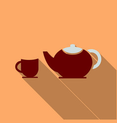 tea set happy tea drinking in flat style with vector image