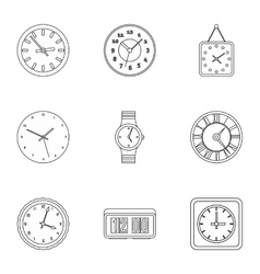 Time dimension icons set outline style vector