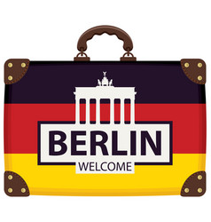 Travel bag with german flag and brandenburg gate vector