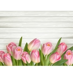 Tulip on the wooden background EPS 10 vector