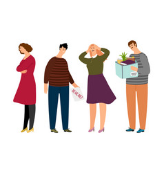 Unemployed people flat characters vector
