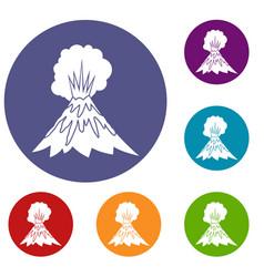 volcano erupting icons set vector image