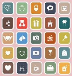 Wedding flat icons on pink background vector image
