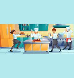 Working restaurant staff cooking rush at kitchen vector