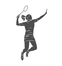 young woman badminton player jumping with a racket vector image