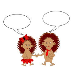 A couple of cartoon hedgehogs with dialog bubbles vector image