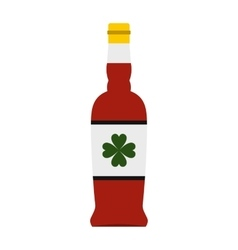 Beer bottle with a clover on the label icon vector image vector image