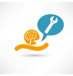 Brain and wrench vector image vector image