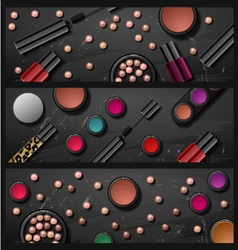 Decorative cosmetics make up accessories beauty st vector
