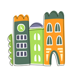 narrow houses stuck to each other cute fairy tale vector image vector image
