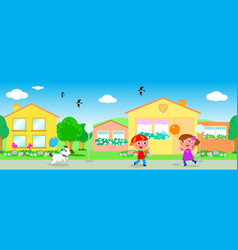 seamless line of houses and children vector image vector image