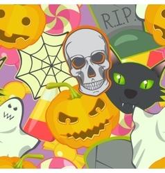 Cartoon halloween symbols seamless pattern vector