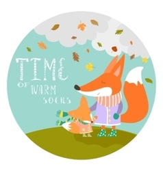 Cute fox with her cub vector image