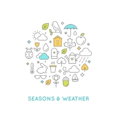 Seasons and weather line icons round vector