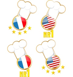Chef hats and flags vector image