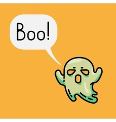 Cute ghost and speech bubble with text Boo vector image