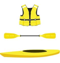 Life jacket kayak boat and oar vector image
