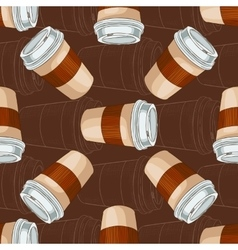 Seamless pattern coffee to go on dark background vector image