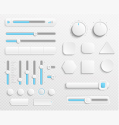white web buttons and ui sliders set vector image
