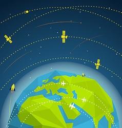 Abstract global modern flying sattelites vector image