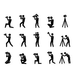 black photographer icons set vector image vector image