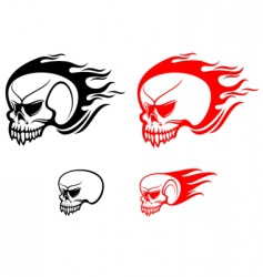 danger skulls with flames vector image