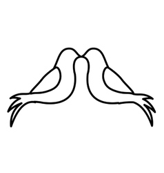 Monochrome contour with pigeons attached by the vector