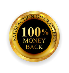 premium quality 100 money back golden medal icon vector image vector image