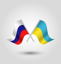 Triangle crossed ukraine and russian flags vector