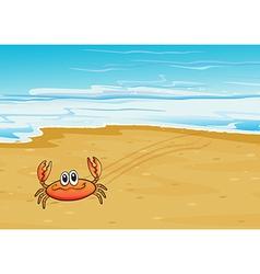 A crab crawling at seashore vector
