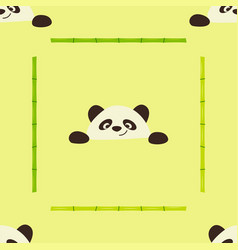 A seamless pattern with bamboo stalks and panda vector