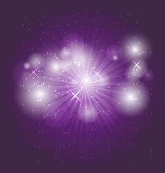 Abstract ray light on violet background vector
