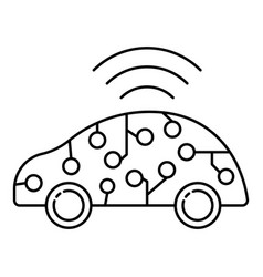 Ai smart car icon outline style vector