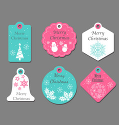 assorted christmas tags vector image