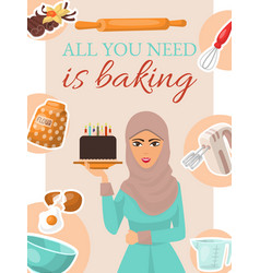 baking concept poster banner woman holding vector image